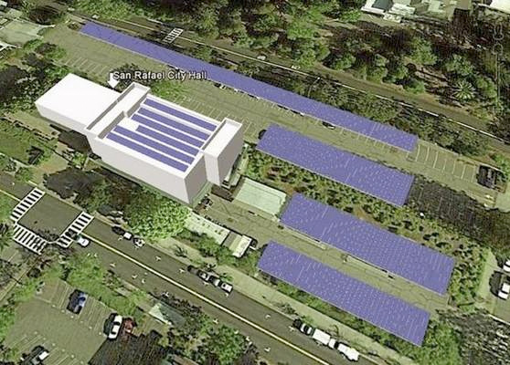 An artist's drawing of the solar panels planned for City Hall. The blue panels will shade most of the parking spaces as well as the roof of teh main building.